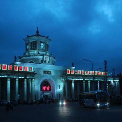 平壤火車站夜景